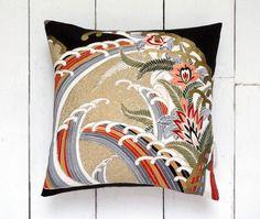 Black & Gold Antique Vintage Japanese Kimono Silk by LynnWatt