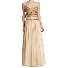Pre-owned Aidan Mattox Gold Gown - Sequin Bodice Open Back With Tulle... ($369) ❤ liked on Polyvore featuring dresses, gold, beaded dress, aidan mattox dresses, v neck sequin dress, sequin tulle dress und v neck dress