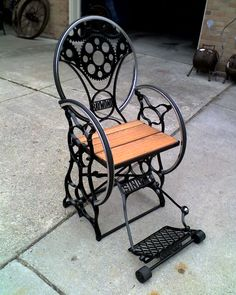 Another Jeff sewing machine/bicycle rim/motorcycle gear/stair tread chair.