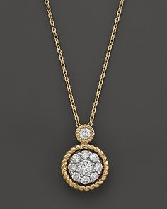 Diamond Bezel Set Pendant Necklace in 14K Yellow Gold, .35 ct. t.w. | Bloomingdale's
