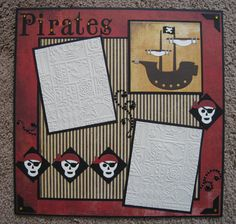 This 12 x 12 2-page pirate layout is full of detail! The numerous pirate skull die cuts and the intricate pirate ship along with your pirate photos will make a terrific addition to your scrapbook. Pirates love their treasure and there are plenty of gemstones scattered across the layout. Plentiful layering adds depth and detail. All materials are archival quality and safe for your photos. Layout would work for pirate birthdays, dress up, Halloween custom parties and of course that trip to…