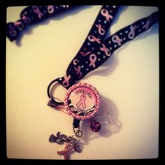 Pray For A Cure Bottle Cap Retractable Id Badge Reel with Charms and FOE Lanyard on Etsy, $15.50