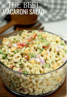 This Easy Macaroni Salad recipe is the perfect side dish to bring to Summer BBQ's, parties and more! Easy macaroni salad is loaded with veggies, cheese and more. You will love the creamy dressing. Easy Macaroni Salad, Elbow Macaroni Recipes, Easy Pasta Salad, Classic Macaroni Salad, Spaghetti Salad, Pasta Salad Recipes Cold, Southern Macaroni Salad, Healthy Pasta Salad, Side Salad Recipes