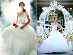 Disney Belle Wedding Dress | can choose from Alfred Angelo's Belle-inspired dress (left) or dress ...