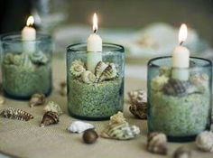 Super simple decor with shells and sand candles. Sand Candles, Pillar Candles, Seashell Candles, White Candles, Cottages By The Sea, Beach Cottages, Seashell Crafts, Beach Crafts, Shells And Sand