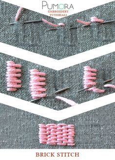 Pumoras embroidery stitch lexicon: the brick stitch, long and short stitch