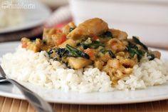 Curry de pollo con espinacas y arroz en Thermomix