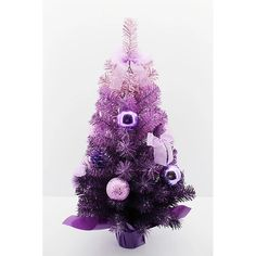 The Holiday Aisle Purple Fir Artificial Christmas Tree with 30 Clear Lights Size: Purple Christmas Tree Decorations, Ombre Christmas Tree, Pre Lit Christmas Tree, Frozen Christmas, Unique Christmas Trees, Diy Christmas Ornaments, Xmas Trees, Christmas Room, Holiday Crafts