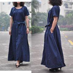 Waterfall/round collar drawstring linen long dress/5 colors/custom size. $68.00, via Etsy.