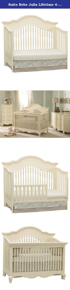 Suite Bebe Julia Lifetime 4-in-1 Crib - Linen. With its delicate curves and graceful style, the Suite Bebe Julia Lifetime 4-in-1 Crib - White Linen is the perfect bed for your little one. Designed to grow with your baby, this all hardwood crib converts to a toddler bed, daybed, and full-size bed so your child can use it from the day you bring them home until the day they leave for college. The non-toxic, white linen finish which matches almost any decor while the mattress adjusts to three...