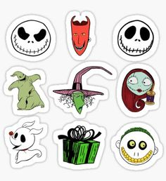 Buy 'Stickers Nightmare before Christmas' by LonelyBunny as a Sticker, Transparent Sticker, or Glossy Sticker Buy Stickers, Homemade Stickers, Printable Stickers, Planner Stickers, Halloween Stickers, Christmas Stickers, Handpoke Tattoo, Sally Nightmare Before Christmas, Halloween Drawings