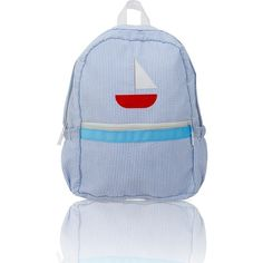 Personalized Seersucker Backpack - Baby Blue Sailboat