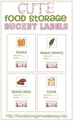 Free Printable:  Cute Food Storage Bucket LABELS!