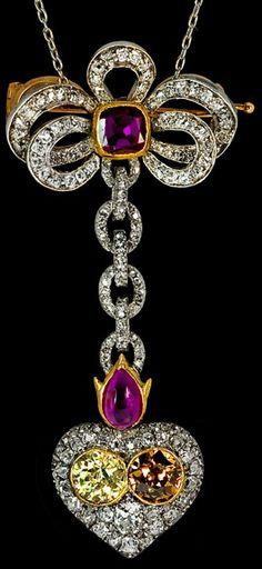 Fabergé - Pendentif Long - Or, Rubis, Diamants et Diamants Jaune et Brun - Vers 1897