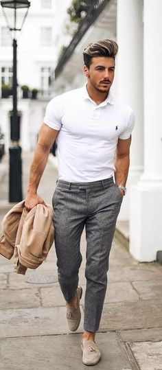 0f6fd65c382 with a summer business casual outfit featuring a white ralph lauren polo  shirt gray trousers tan suede jacket beige suede tassel loafers no show  socks watch