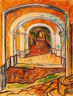 A corridor in de Asylum / Sala en el Hospitál de Arles (1889) - Vincent van Gogh