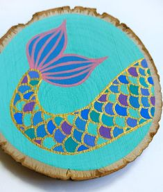 Items similar to Mermaid Christmas ornament, painted wood slice nautical ocean art with free shippin Seashell Christmas Ornaments, Hand Painted Ornaments, Wood Ornaments, Art Vampire, Vampire Knight, Rock Crafts, Diy Arts And Crafts, Painted Rocks Craft, Painted Wood