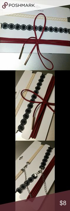 3 piece choker set 3 super cute chokers  2 have adjustable chains  price is firm Accessories