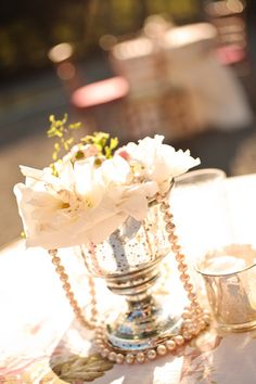 Napa Valley Wedding by Adeline and Grace Photography + Bliss Event Productions Pearl Centerpiece, Candle Centerpieces, Wedding Centerpieces, Wedding Decorations, Vintage Centerpieces, Centrepieces, Farm Wedding, Chic Wedding, Wedding Events