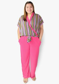 A chic and classy look? It's all in this overlap print and plain jumpsuit. Spandex fabric, gartered waist with side pockets! So stylish you'd want to hop all around the town! How To Look Classy, Spandex Fabric, Pajama Pants, Chic, Stylish, Jumpsuits, Pink, Collection, Fashion