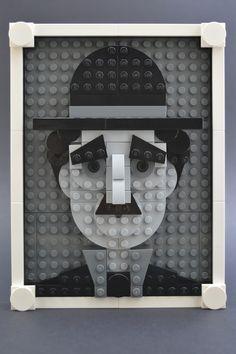 Brick Sketch The Little Tramp Charlie Chaplin, Deco Lego, Lego Portrait, Pixel Art, Lego Creative, Lego Pictures, Lego Boards, Lego People, Lego Club