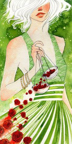 Lady Libra by Renee Nault Libra Art, Zodiac Art, Libra Zodiac, Illustrations, Illustration Art, Art Kawaii, Shades Of Green, Watercolor Art, Original Art