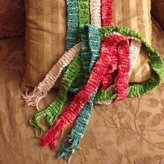 Knitted long skinny scarves