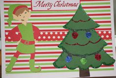 Christmas card using cricut, a Quilted Christmas cartridge for the elf, and create a critter for the tree