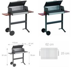 Dancook 5600 - Large Barbecue Box Grill With Grill Lid, Sidetables And Wheels.