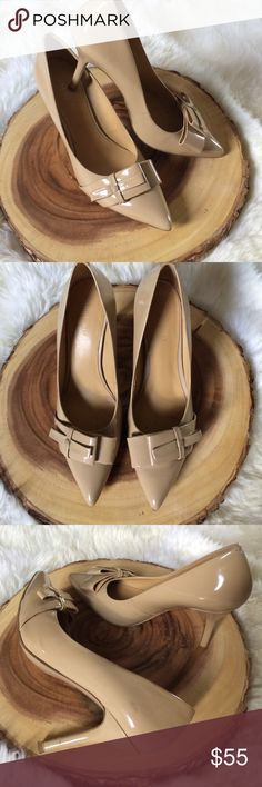 Nine West nude faux parent heels size 6.5 Cute, classy and chic nude faux patent heels size 6.5 with beautiful pointy toe detail. Heel height 3 1/2 inches tall. Nine West Shoes Heels