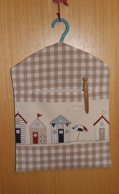 Hand Made. Lined, Beach Huts Peg Bag
