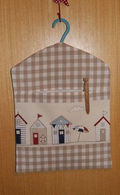 Hand Made. Lined, Beach Huts Peg Bag