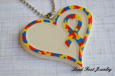Autisim Awareness Heart Penant by LeadFootJewelry on Etsy