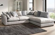 Fabric Sofas That Are Perfect For Your Home Globe Pillow Back Left Hand Facing Arm Large Corner Group Corner Sofa Fabric, Corner Sofa Living Room, Leather Corner Sofa, Corner Couch, Fabric Sofa, Living Room Decor, Corner Sofa Design, Dfs Sofa, Sofa Beds