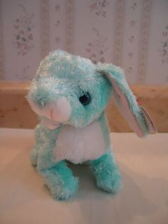 """TY Beanie Babies """"SPRING"""" Soft Plush Blue Easter Bunny Rabbit 2001 5"""" New #Ty"""