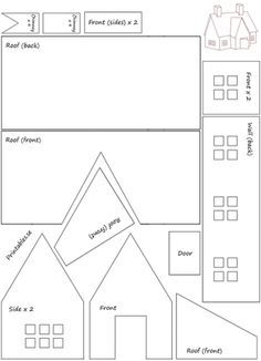 Template for gingerbread house 7 (free printable) Homemade Gingerbread House, Graham Cracker Gingerbread House, Cardboard Gingerbread House, Gingerbread House Patterns, Cool Gingerbread Houses, Gingerbread House Parties, Christmas Gingerbread House, Gingerbread Decorations, Cardboard Houses