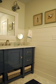 boy's bathroom- light fixtures love the vanity with those hinges and horizontal wide beadboard too! Gotta do this! *check out lights above mirror Boys Bathroom, Blue Vanity, Diy Bathroom, Trendy Bathroom, Room Tiles, Bathroom Light Fixtures, Amazing Bathrooms, Bathrooms Remodel, Bathroom Design