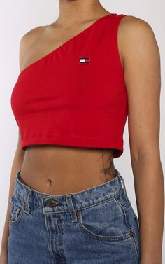 Vintage Rework Tommy One Shoulder Tank Tommy Hilfiger Outfit, Tommy Hilfiger Shirts, Tommy Hilfiger Women, Crop Top Outfits, Crop Tank, Summer Wear, Diy Hairstyles, Diy Clothes, Cool Style