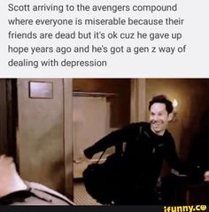 Scott arriving to the avengers compound where everyone IS miserable because their friends are dead but it's ok cuz he gave up hope years ago and he's got a gen 2 way of dealing wnth depressmn - iFunny :) Funny Marvel Memes, Marvel Jokes, Dc Memes, Avengers Memes, Marvel Avengers, Marvel Comics, Funny Memes, Marvel Gems, Hilarious