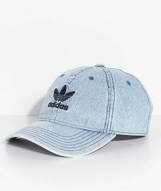 1a06db05683 Adidas Originals Relaxed Strap Back Cap Hat Washed Blue Denim Trefoil Nwt   adidas  BaseballCap