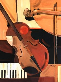 Paul Brent Solid-Faced Canvas Print Wall Art Print entitled Abstract Violin, None Framed Wall Art, Framed Art Prints, Fine Art Prints, Wall Mural, Artwork Prints, Painting Frames, Painting Prints, Gouache Painting, Violin Art