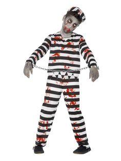 Black and White Zombie Convict Boy Child Halloween Costume – Large Boy Zombie Costume, Tween Halloween Costumes, Kids Costumes Boys, Halloween Party Themes, Costumes For Teens, Boy Costumes, Halloween Kids, Halloween Recipe, Halloween Makeup
