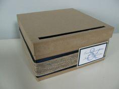 Rustic Wedding Card Box Navy Blue and Burlap by astylishdesign, $27.00