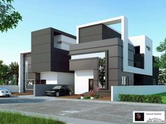 Computer Architectural Projects has Erased and thrown to the Past all Hand Drawing Tools - Architecture Admirers Bungalow Haus Design, Duplex House Design, House Front Design, Modern Architecture House, Architecture Design, System Architecture, Modern Villa Design, House Elevation, Facade House