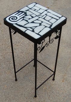 Marble Left Hand 163: A natural stone topped accent table with | Etsy Sandstone Slabs, Black Grout, Hand Symbols, Hand Art, Accent Tables, Left Handed, White Marble, Recycled Materials, Benches