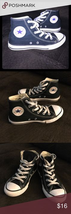 Boys black Chuck Taylors great condition! These are a boys size 1 black and white converse All-Stars chuck Taylors. My son rarely worn these possibly a handful of times they are in really good used conditions. Soles are barely worn look new. Slight logo scuff on heels. Open to offer! Converse Shoes Sneakers