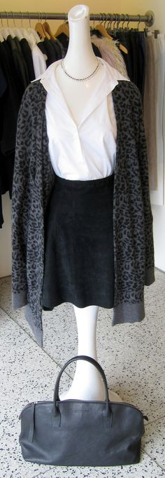 RTA leopard long cashmere sweater, Stand suede skater skirt, Lareida white button down, Ten Thousand Things necklace