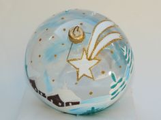 hand Painted Christmas Ornament Glass Ball by aniamelisa on Etsy, $19.90