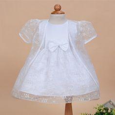 2017 Arco Vestidos de Batismo Do Bebê Menina 2 pcs Sólido Branco Vestido Para 1 Anos de Idade Roupa Formal Do Bebê da Festa de Aniversário SKF154716