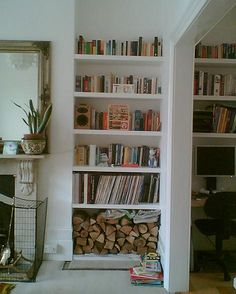 10 Genuine Tips AND Tricks: Floating Shelves Shanty 2 Chic Tutorials ikea floating shelves apartment therapy.Floating Shelves Bedroom Small Spaces floating shelves different sizes rustic.Floating Shelves Over Bed Tvs. Living Room Shelves, My Living Room, Alcove Storage Living Room, Alcove Ideas Bedroom, Diy Bedroom, Alcove Decor, Bedroom Black, Bedroom Curtains, Cozy Living